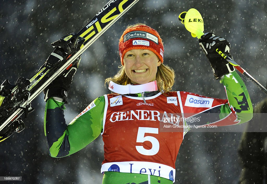 Tanja Poutiainen of Finland takes 2nd place during the Audi FIS Alpine Ski World Cup Women's Slalom on November 10, 2012 in Levi, Finland.