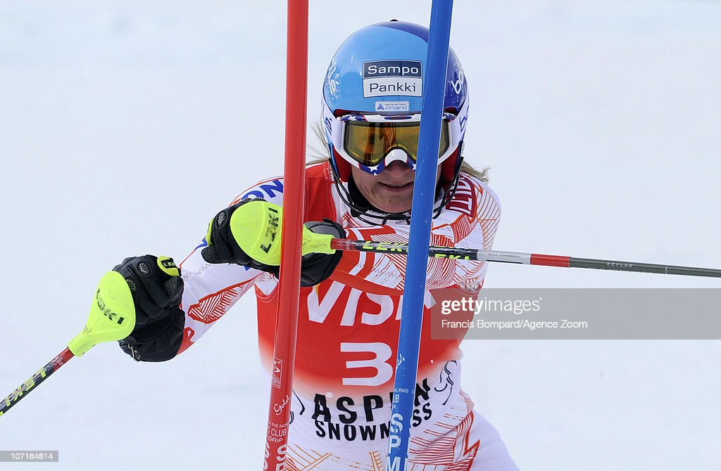 Tanja Poutiainen of Finland takes 3rd place during the Audi FIS Alpine Ski World Cup Women's Slalom on November 28 2010 in Aspen Colorado