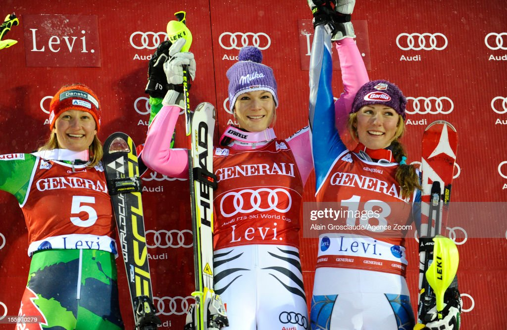 Tanja Poutianen , Maria Hoefl-Riesch ,Mikaela Shiffrin on the podium during the Audi FIS Alpine Ski World Cup Women's Slalom on November 10, 2012 in Levi, Finland.