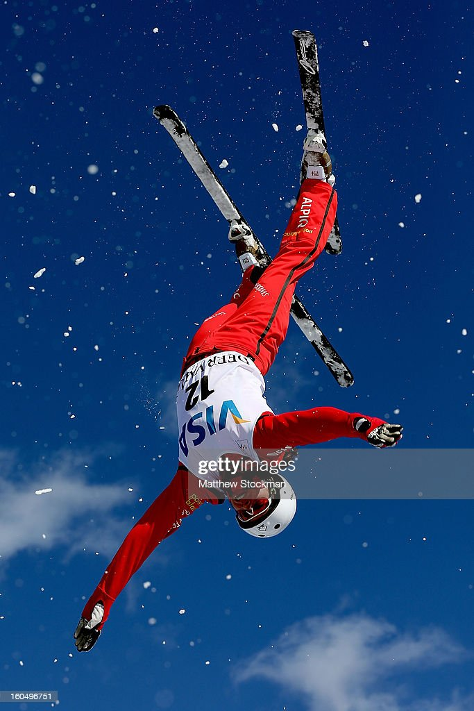Tanja Schaerer #12 of Switzerland jumps while training for the Ladies Aerials during the Visa Freestyle International at Deer Valley on February 1, 2013 in Park City, Utah.