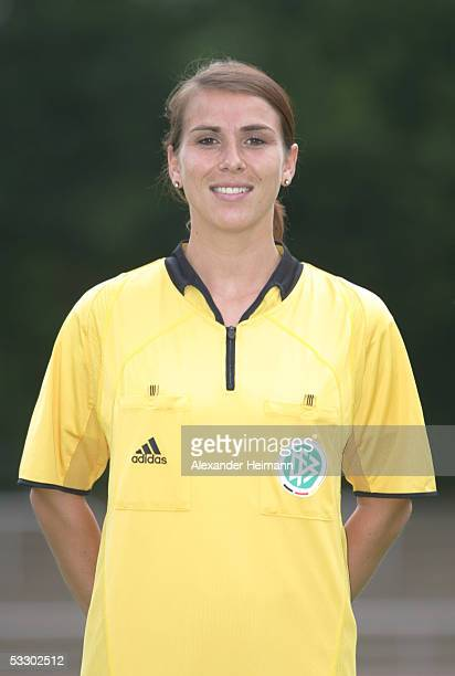 Tanja Schneider poses during the German Football Federation referee seminar on July 29 2005 in Neu Isenburg near Frankfurt Germany