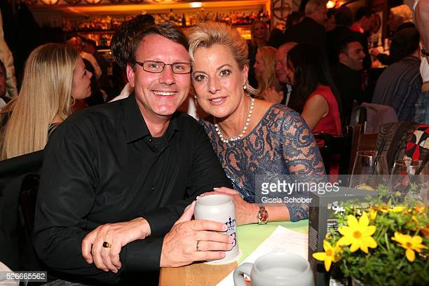 Tanja Schumann and her husband Stefan Burmeister during the 11th anniversary 'Highway to Helles' of 'Bachmaier Hofbraeu' in Munich on April 30 2016...