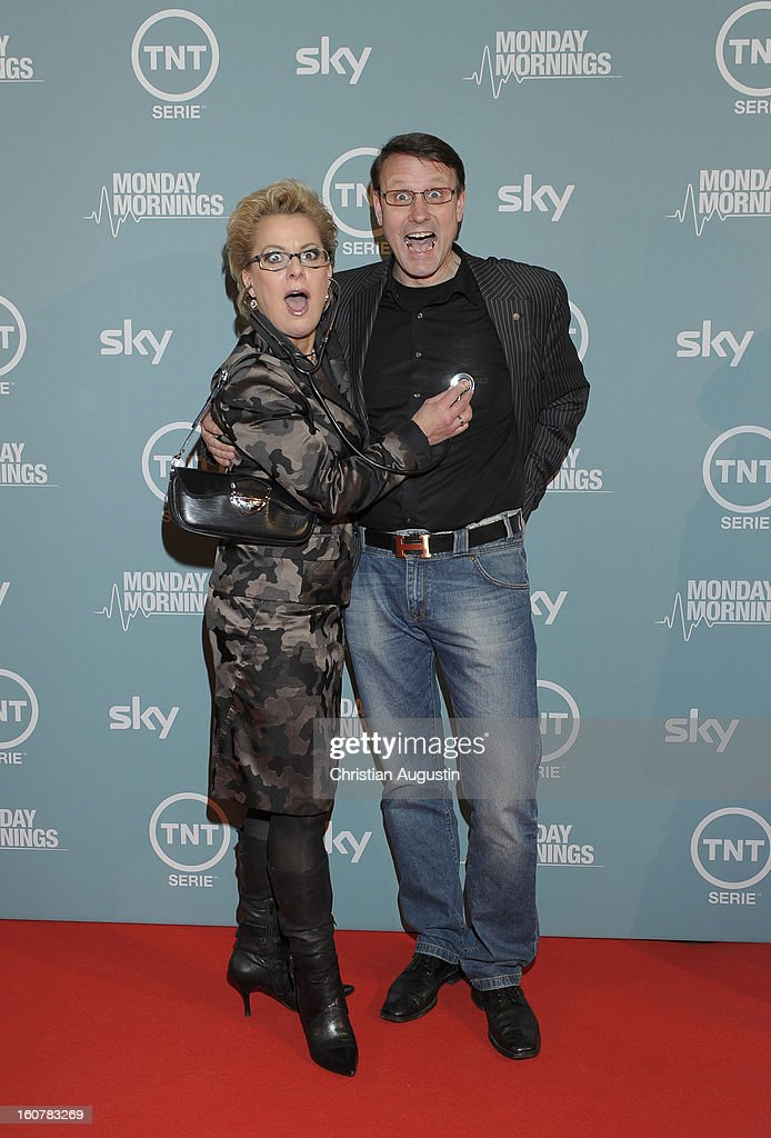 Tanja Schumann and Stefan Burmeister attend the 'Monday Mornings' Preview Event of TNT Serie at East Hotel on February 5th, 2013 in Hamburg, Germany. The series premieres on February 7th (every Thursday at 8:15 pm on TNT Serie).