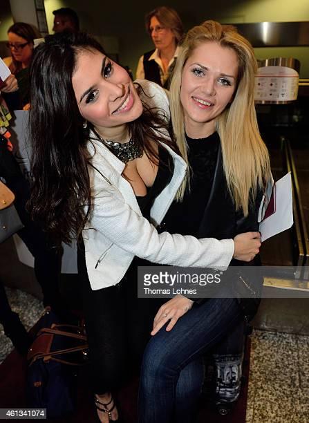 Tanja Tischewitsch and Sara Kulka poses before the flight to Australia as a participant in the 2015 RTLTVShow 'Dschungelcamp Ich bin ein Star Holt...