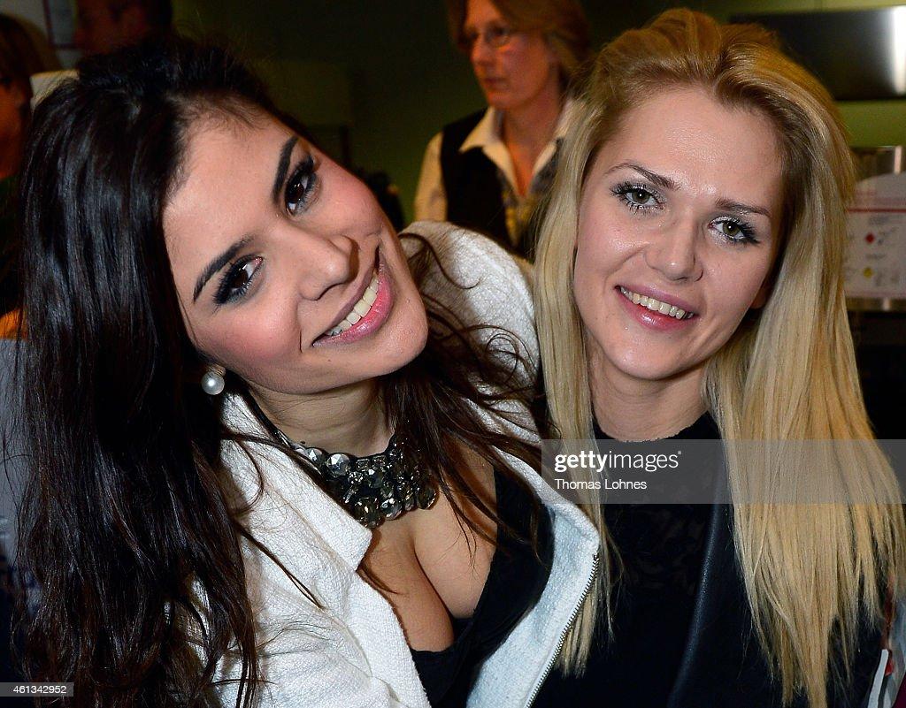 Tanja Tischewitsch and Sara Kulka poses before the flight to Australia as a participants in the 2015 RTLTVShow 'Dschungelcamp Ich bin ein Star Holt...