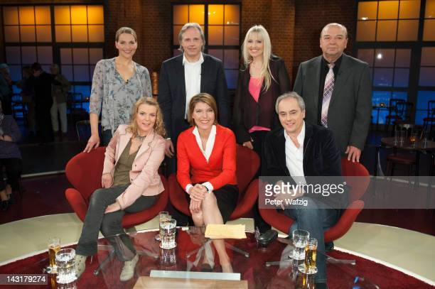 Tanja Wedhorn Markus Stenz Olga Roh and Josef Wilfling Mirja Boes host Bettina Boettinger and Christian Rach attend the photocall after 'Koelner...