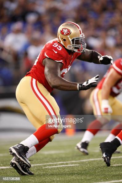 tank carradine of the san francisco 49ers defends during the game against the baltimore ravens at adobe tank san francisco