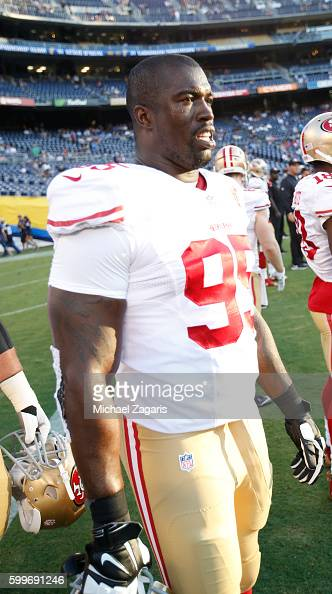 tank carradine of the san francisco 49ers stands on the field prior to the game against adobe tank san francisco