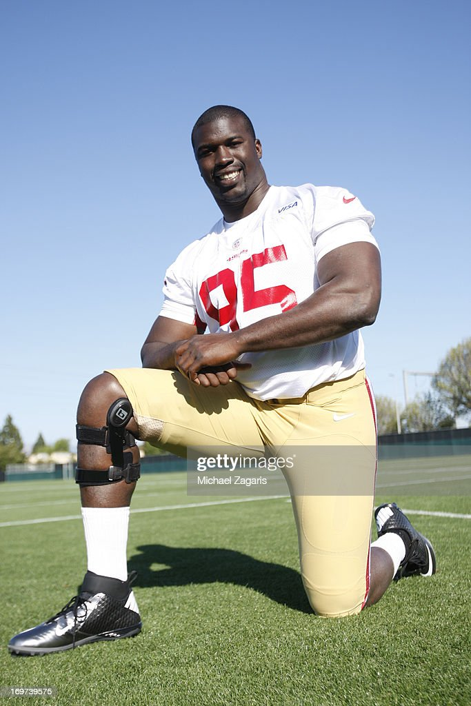 Tank Carradine poses for a photo during the San Francisco 49ers Rookie Camp at the team training complex facility on May 10, 2013 in Santa Clara, California