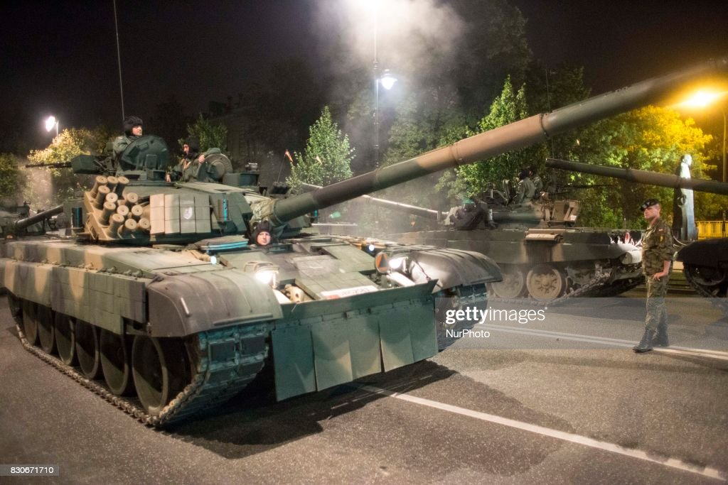 Tank during night training before parade on Polish Army Day in Warsaw on August 12, 2017.
