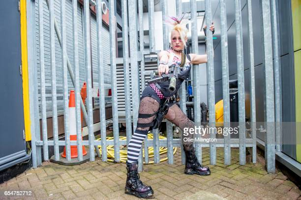 Tank Girl cosplayer poses during the MCM Birmingham Comic Con at NEC Arena on March 18 2017 in Birmingham England