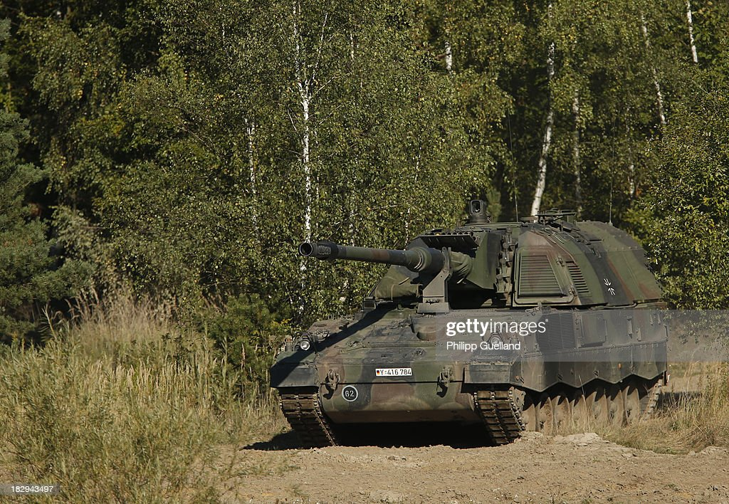 A tank Howitzer 2000 is seen during the annual military exercises held for the media at the Bergen military training grounds on October 2 2013 near...