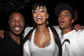 Tank Keri Hilson and J Valentine attend the after party for the screening of 'Loso's Way' at The Griffin on July 27 2009 in New York City