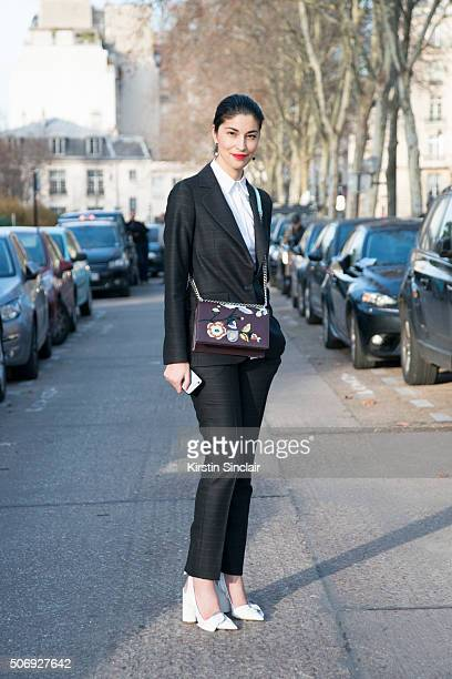 Tank Magazine fashion director Caroline Issa wears all Dior on day 2 of Paris Haute Couture Fashion Week Spring/Summer 2016 on January 25 2015 in...