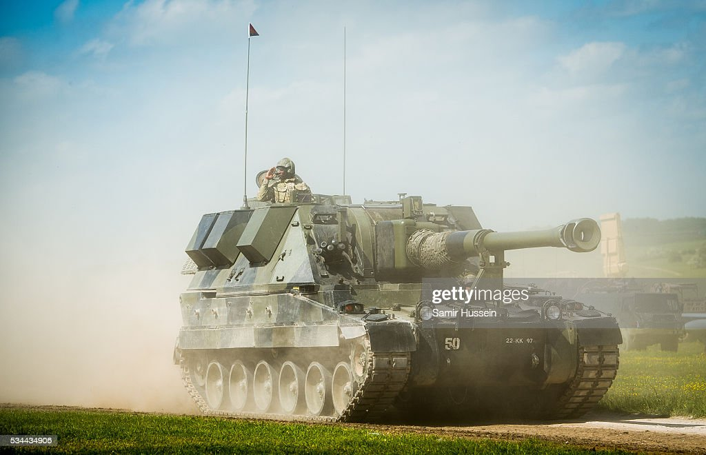 A tank on display at the Royal Review of The Royal Artillery on the occasion of their Tercentenary at Knighton Down on May 26, 2016 in Lark Hill, England.