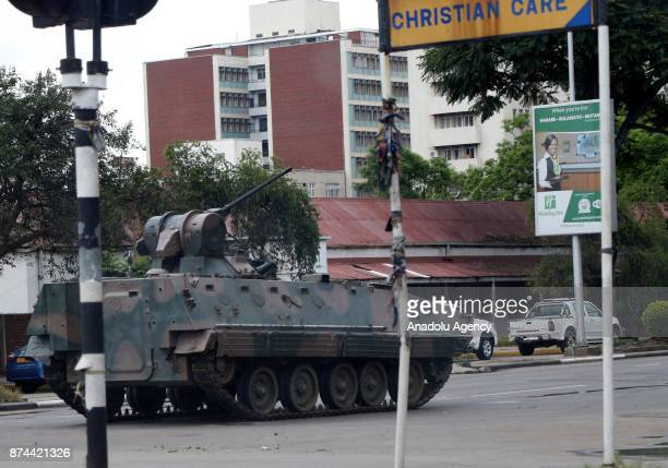 A tank seals off a main road to the Zimbabwe high court within the military activities taking place in Harare Zimbabwe on November 15 2017 President...