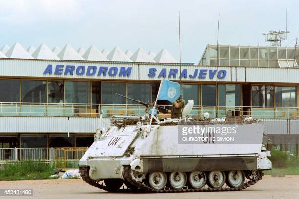 A UN tank secure Sarajevo airport on July 01 1992 in preparation for all fullscale humanitarian airlift into the besieged city