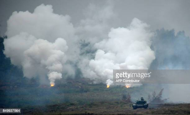 TOPSHOT A tank takes part in the joint RussianBelarusian military exercises Zapad2017 at a training ground near the town of Borisov on September 20...