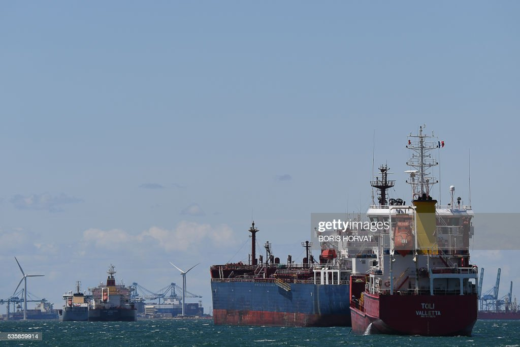 Tanker is anchored off the Fos-Lavera oil hub near Marseille, for the seventh day of the strike, on May 30, 2016. France has been using strategic fuel reserves for two days in the face of widespread blockades of oil depots by union activists, the head of the oil industry federation said on May 25, 2016. / AFP / BORIS