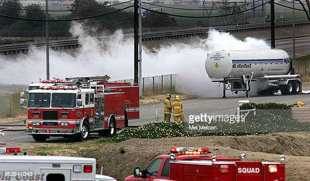 A tanker truck leaking liquid oxygen is monitored by Ventura County Firefighters on Camino Dr in Oxnard parallel to the 101 fwy near Del Norte blvd...