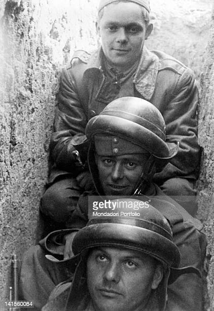 Tankmen of the Hungarian army sit in an uncomfortable trench Nikolaev August 1941