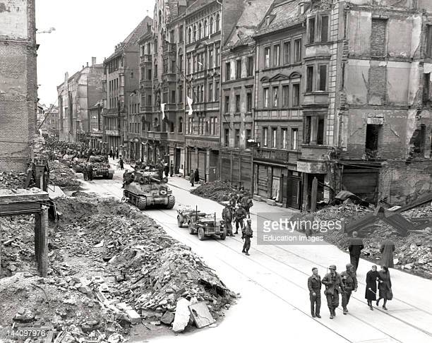 Tanks Advancing On Munich Street World War Ii April 30 1945