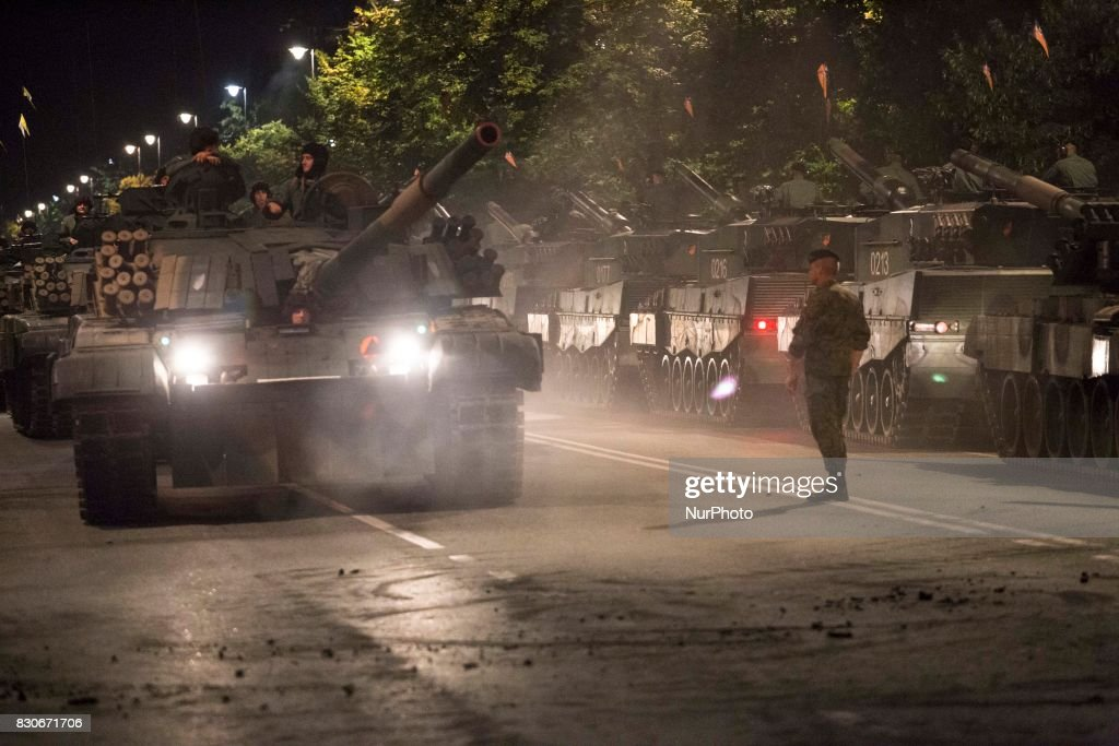 Tanks during night training before parade on Polish Army Day in Warsaw on August 12, 2017.