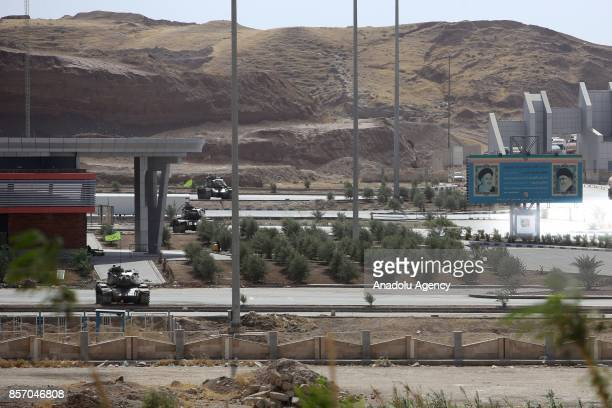 Tanks of Iranian Army are deployed near IraqIran border gate which is closed for one day due to the military drill organised by Iraqi Kurdish...