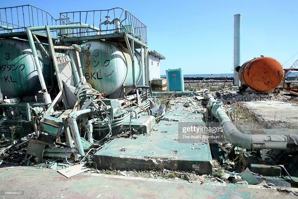 Tanks of turbine building of fourth reactor remains destroyed as decommissioning work continues at the Fukushima Daiichi Nuclear Power Plant during the press tour on October 12, 2012 in Okuma, Fukushima, Japan.