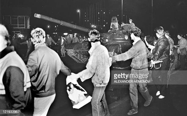 Tanks roll towards the Russian White House in central Moscow early on August 20 1991 Russia marks on August 1922 the 20th anniversary of the abortive...