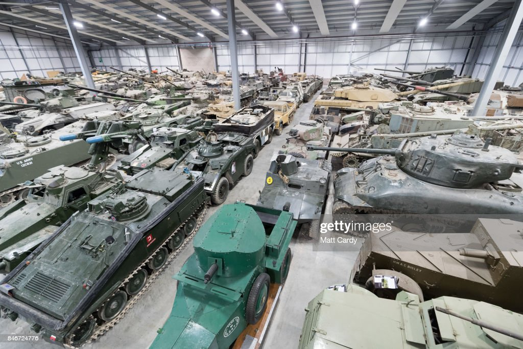 Tanks stored at the Vehicle Conservation Centre at the Bovington Tank Museum are displayed ahead of this weekend's Tiger Day, which will feature a Tiger tank, the only working example in the world, being demonstrated to the public, on September 13, 2017 in Dorset, England. Bovington The Tank Museum is home to Tiger 131, which was captured intact by the allies during fierce fighting in the Tunisian desert in 1943 and is currently part of a world-first exhibition, The Tiger Collection, which showcases the entire Tiger family side-by-side. Such was the importance of its capture that Prime Minister Winston Churchill and King George VI went to North Africa be pictured with it.