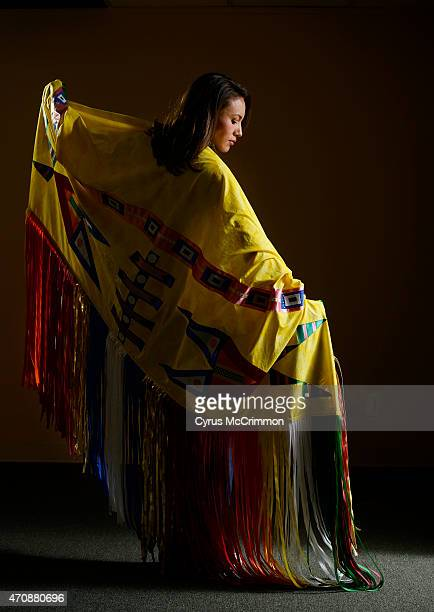 Tanksi Clairmont with a new fancy shawl she will take to the Albuquerque Gathering of Nations Powwow this coming weekend She is the head lady dancer...