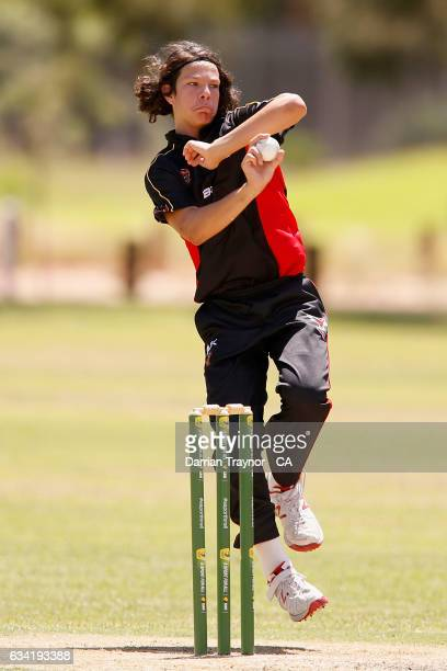 Tanner Coulthard bowls during the National Indigenous Cricket Championships match between South Australia and Tasmania on February 8 2017 in Alice...