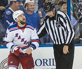 Tanner Glass of the New York Rangers against the Tampa Bay Lightning during the third period in Game Four of the Eastern Conference Final during the...