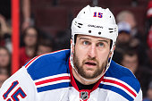 Tanner Glass of the New York Rangers looks on against the Ottawa Senators during an NHL game at Canadian Tire Centre on January 24 2016 in Ottawa...