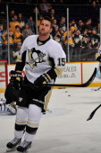 Tanner Glass of the Pittsburgh Penguins skates during warm ups prior to a game against the Nashville Predators at Bridgestone Arena on March 4 2014...