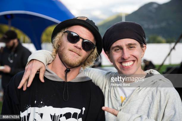 Tanner Hall of the USA and Henrik Harlaut of Sweden pose during the Sosh Big Air qualifications on October 6 2017 in Annecy France