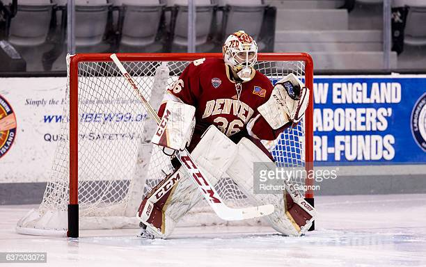 Tanner Jaillet of the Denver Pioneers warms up prior to an NCAA hockey game against the Providence College Friars at the Schneider Arena on December...