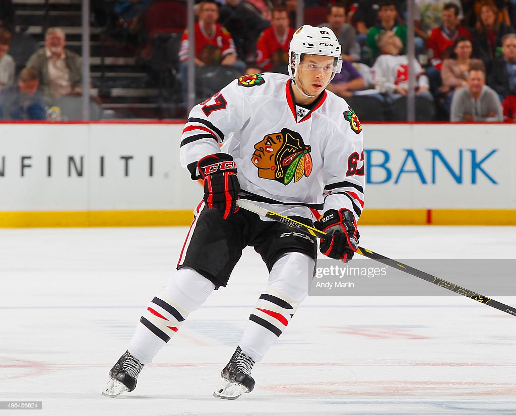 Tanner Kero of the Chicago Blackhawks skates against the New Jersey Devils during the game at the Prudential Center on November 6 2015 in Newark New...