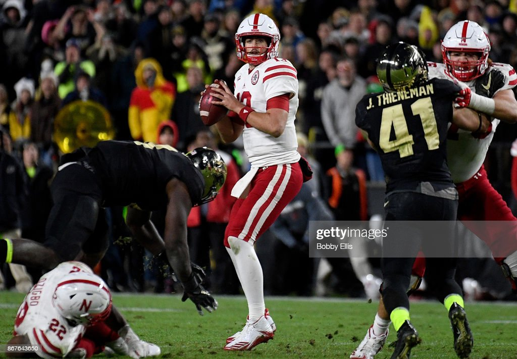 Tanner Lee #13 of the Nebraska Cornhuskers drops back to pass during the fourth quarter of the game between the Purdue Boilermakers and the Nebraska Cornhuskers at Ross-Ade Stadium on October 28, 2017 in West Lafayette, Indiana.