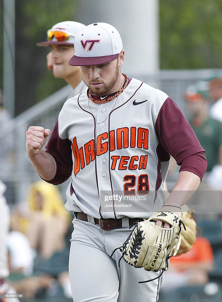Tanner McIntyre of the Virginia Tech Hokies celebrates after the game against the Miami Hurricanes on March 24, 2013 at Alex Rodriguez Park at Mark Light Field in Coral Gables, Florida. Virginia Tech defeated Miami 8-5 in 10 innings.
