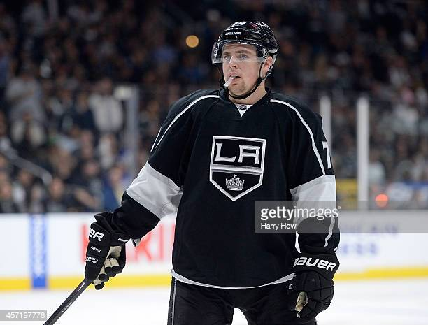 Tanner Pearson of the Los Angeles Kings before a faceoff during a 41 win over the Winnipeg Jets at Staples Center on October 12 2014 in Los Angeles...