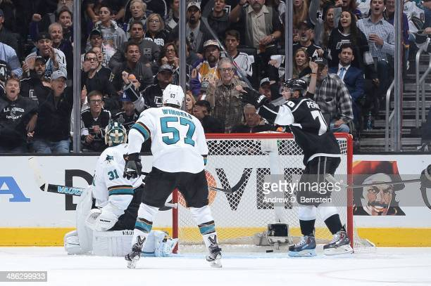 Tanner Pearson of the Los Angeles Kings celebrates a goal against the San Jose Sharks in Game Three of the First Round of the 2014 Stanley Cup...