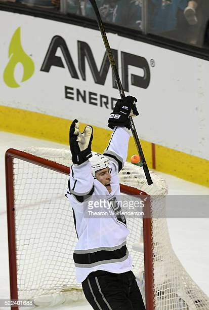 Tanner Pearson of the Los Angeles Kings celebrates after scoring the winning goal against the San Jose Sharks in the fourth period in Game Three of...