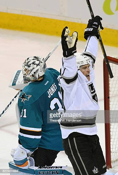 Tanner Pearson of the Los Angeles Kings celebrates after shooting the winning goal past goal keaper Martin Jones of the San Jose Sharks in the fourth...