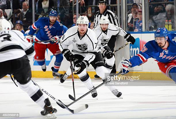 Tanner Pearson of the Los Angeles Kings chases the puck against the New York Rangers during the first period of Game Three of the 2014 Stanley Cup...