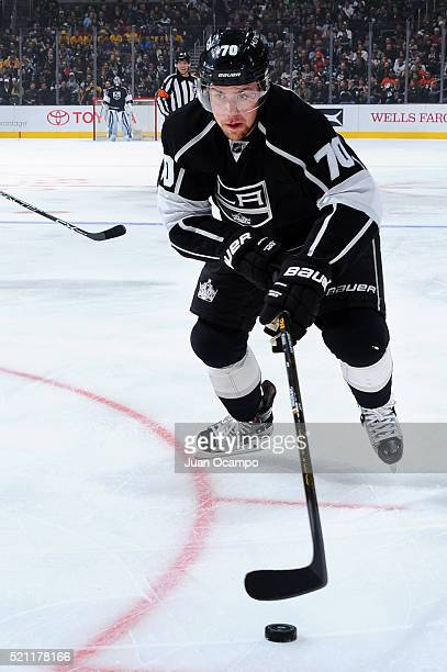 Tanner Pearson of the Los Angeles Kings controls the puck during the game against the Anaheim Ducks on April 7 2016 at Staples Center in Los Angeles...