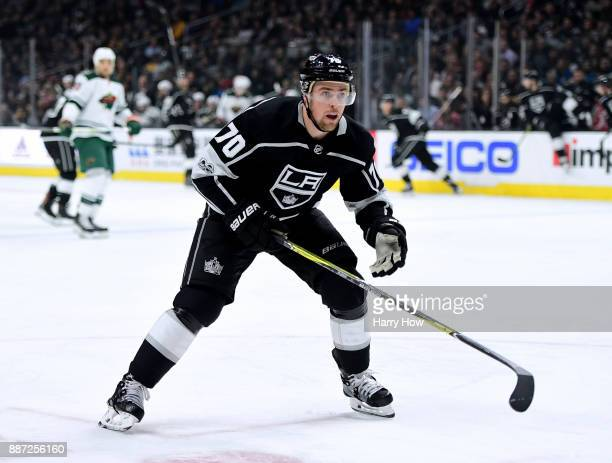 Tanner Pearson of the Los Angeles Kings forechecks against the Minnesota Wild at Staples Center on December 5 2017 in Los Angeles California