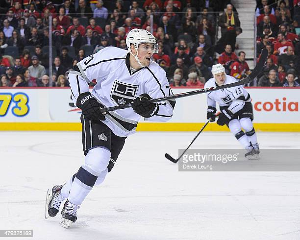 Tanner Pearson of the Los Angeles Kings in action against the Calgary Flames during an NHL game at Scotiabank Saddledome on March 10 2014 in Calgary...