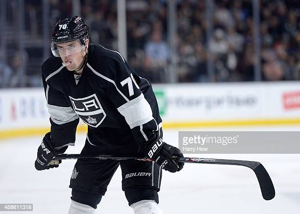 Tanner Pearson of the Los Angeles Kings lines up for a face off against the New York Islanders at Staples Center on November 6 2014 in Los Angeles...